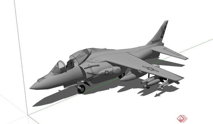 某现代战斗飞机设计su模型