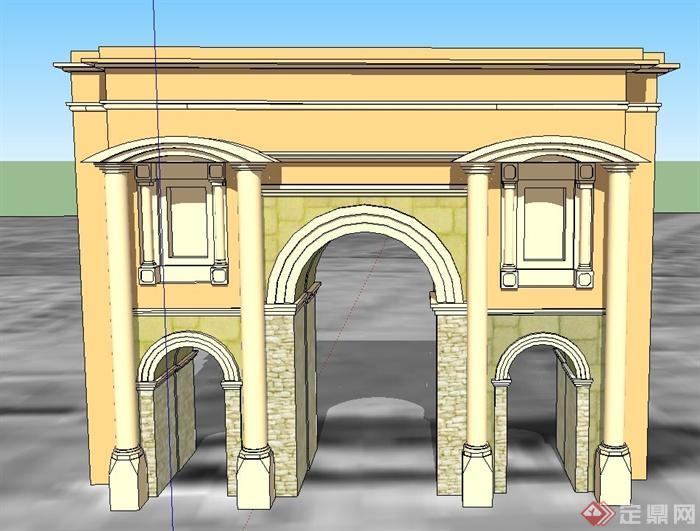 欧式风格大门门廊设计su模型[原创]