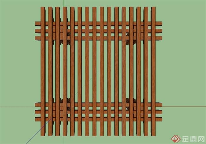 某现代木条镂空廊架设计su模型