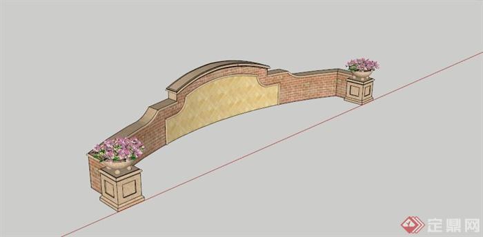 某欧式弧形景墙设计SU模型,该设计风格为欧式设计风格,主材为石材,呈弧形,有花钵装饰,模型制作美观详细,细节部分制作精致,有材质贴图,具有一定参考使用价值,欢迎下载使用。