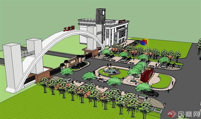 现代某工业园入口大门设计su模型[原创]