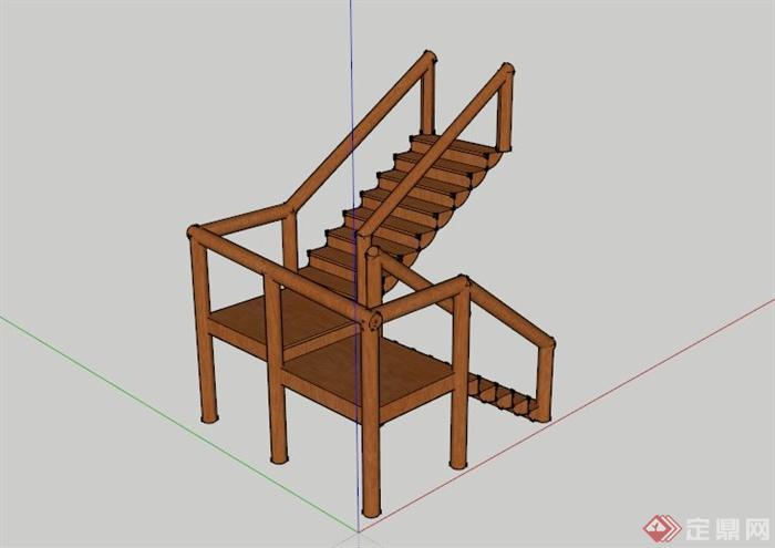 某现代户外木制楼梯su模型