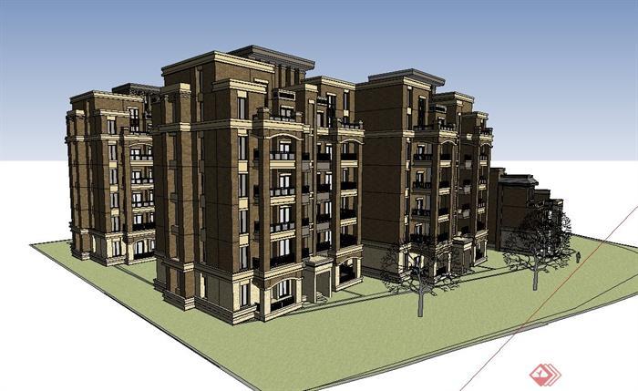 一个欧式多层住宅小区建筑设计su模型(2)