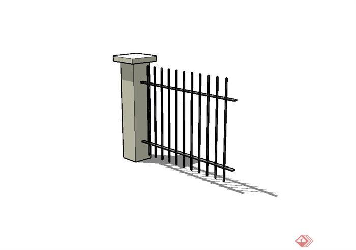 某现代风格铁艺栏杆围墙设计su模型[原创]