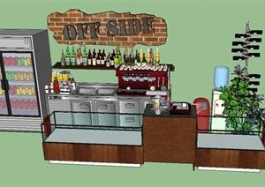 某酒店室内酒柜、吧台、装饰摆件设计SU(草图大师)模型