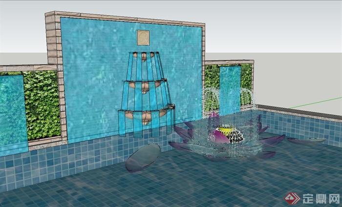 园林景观节点荷花喷泉水池景墙设计su模型(2)