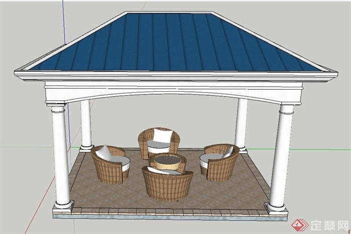 欧式风格方形亭子桌椅设计su模型