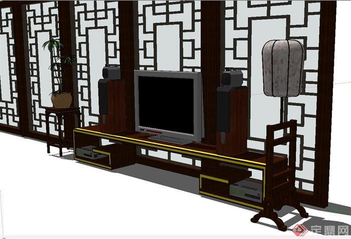 中式风格木质电视柜,屏风设计su模型(2)