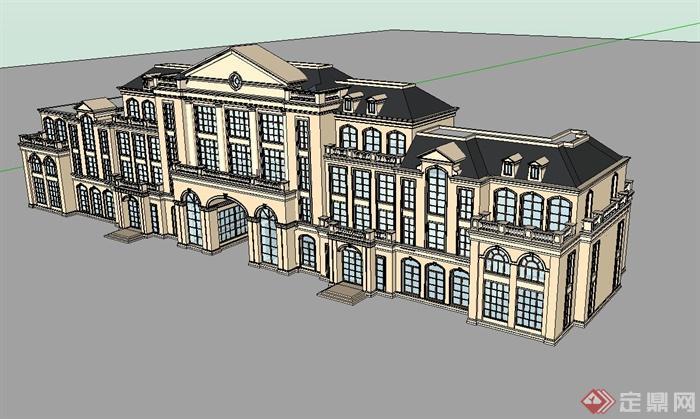 多层欧式风格独栋会所建筑设计su模型