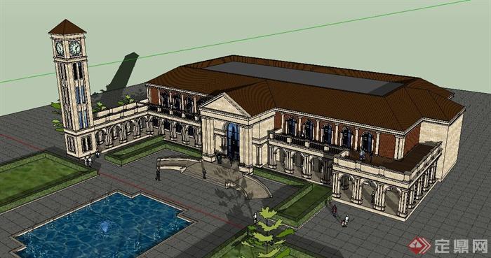 欧式风格两层商务会所建筑设计su模型(2)
