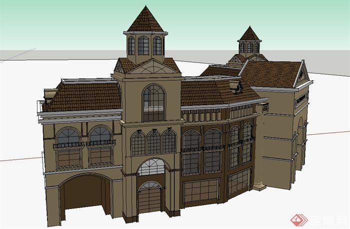 欧式风格三层弧形购物中心建筑设计su模型