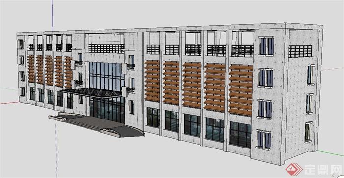 现代四层工业办公楼建筑设计su模型[原创]
