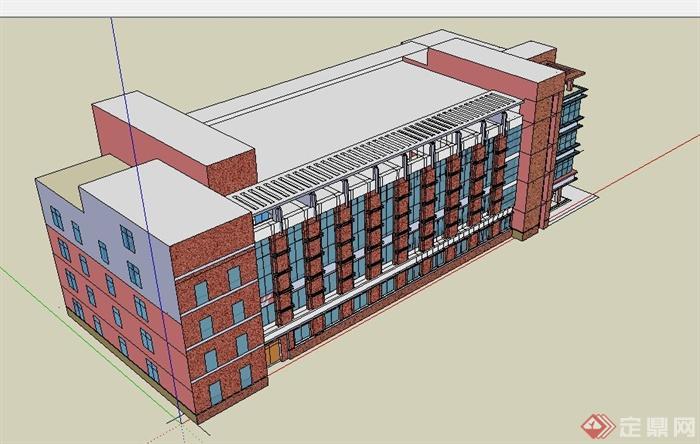 现代风格五层办公楼建筑设计su模型[原创]