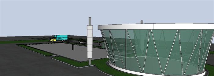 现代玻璃外墙工业建筑设计su模型[原创]