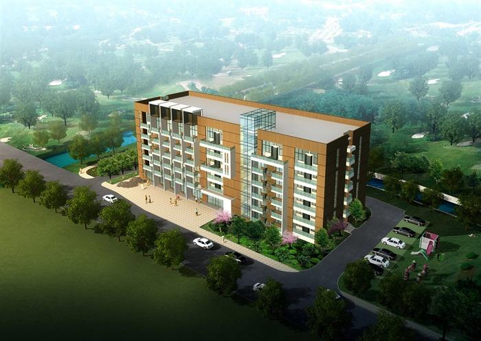 5层现代风格办公楼(含建筑 结构 给排水 空调 效果图)(1)