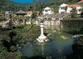 景观柱,水池水景,景墙,凉亭