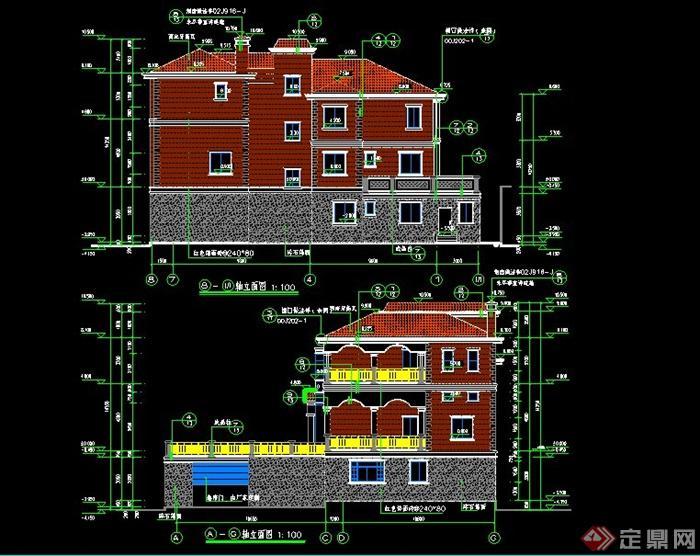 3层现代风格私人独栋别墅建筑设计cad施工图
