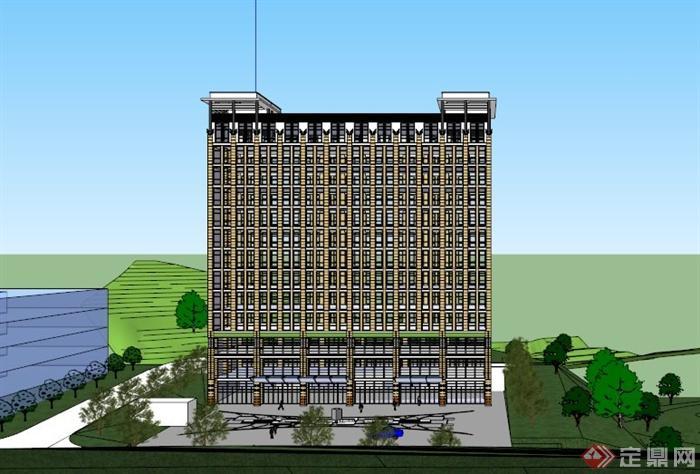 高层办公建筑设计su草图大师模型[原创]