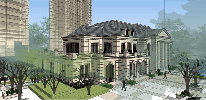 西式风格售楼处建筑设计su模型,模型为欧式风格,模型有材质贴图,可
