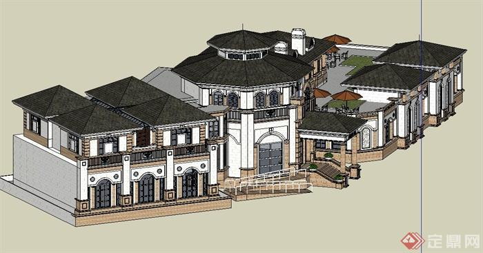欧式风格两层会所建筑su设计模型(2)