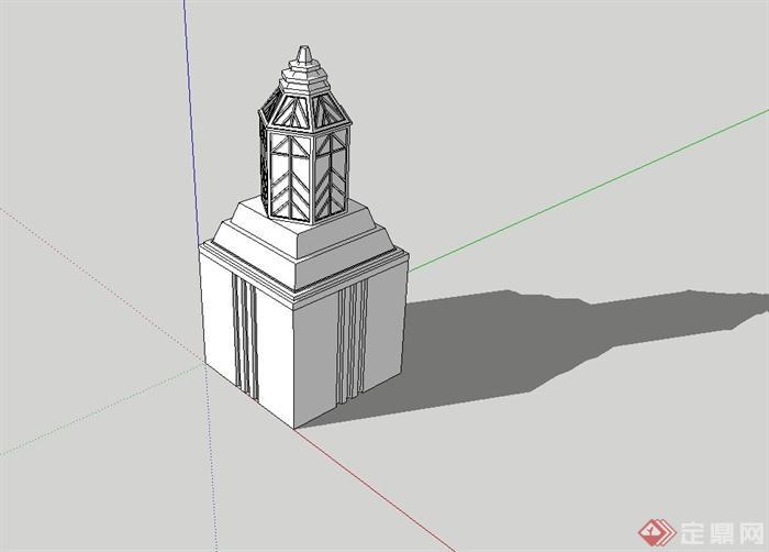 某现代风格景观灯柱设计su模型(1)