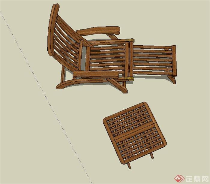 户外木质桌椅设计su模型[原创]