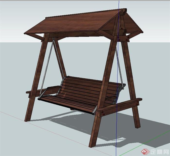 室外木质秋千椅设计su模型[原创]