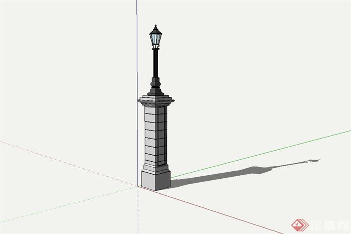 某欧式庭院路灯柱设计su模型[原创]