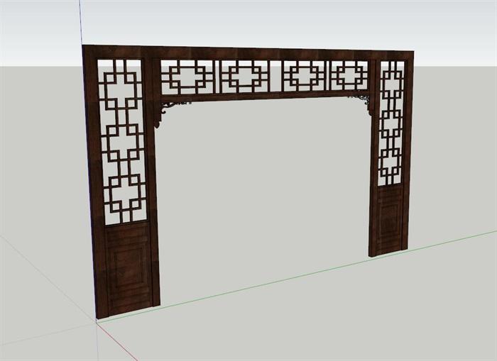 古典中式室内木质装饰门框设计su模型