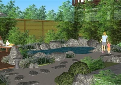 日式风格休闲旅游度假酒店景观su模型