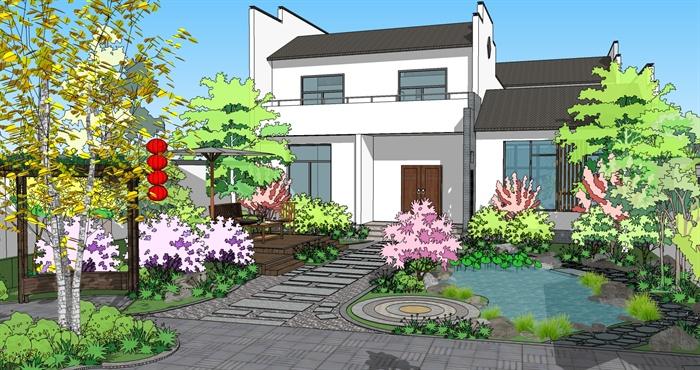 徽式别墅+庭院整体建筑景观设计su模型[原创]