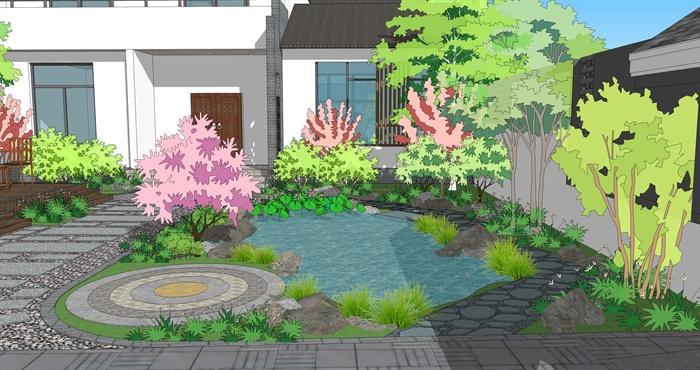 徽式别墅 庭院整体建筑景观设计su模型