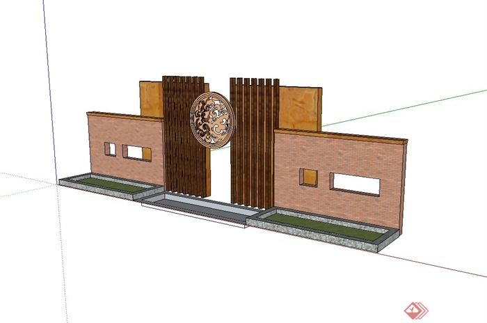 现代中式风格照壁景墙设计su模型(2)