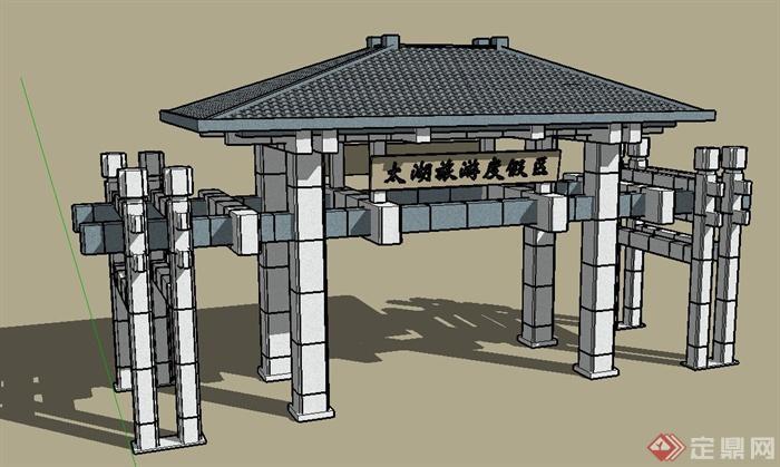 某旅游度假村入口大门设计su模型(1)