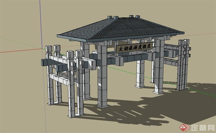 某旅游度假村入口大门设计su模型(3)