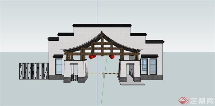 现代中式景区入口大门设计SU模型,该设计风格为现代中式设计风格,为景区大门入口设计,模型制作美观详细,细节部分制作精致,有材质贴图,具有一定参考使用价值,欢迎下载使用。
