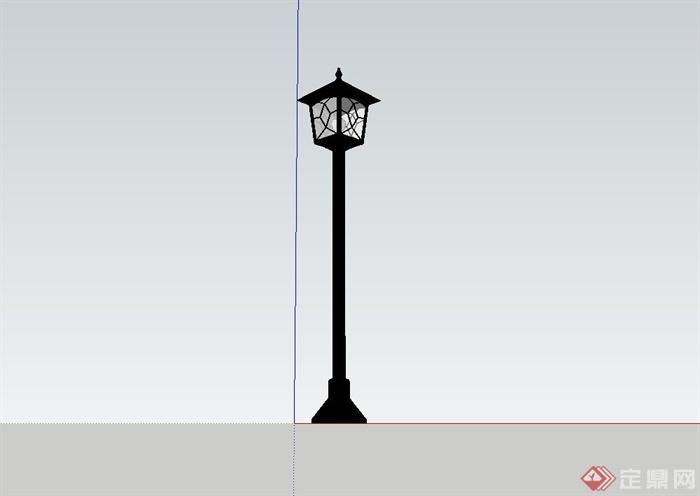 欧式风格庭院景观灯柱su模型[原创]