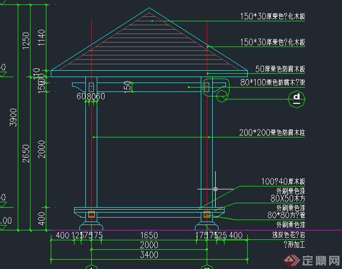 园林景观节点四角景观亭设计cad结构图