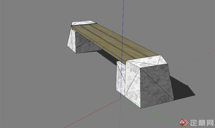 现代户外石材木条椅子su模型[原创]