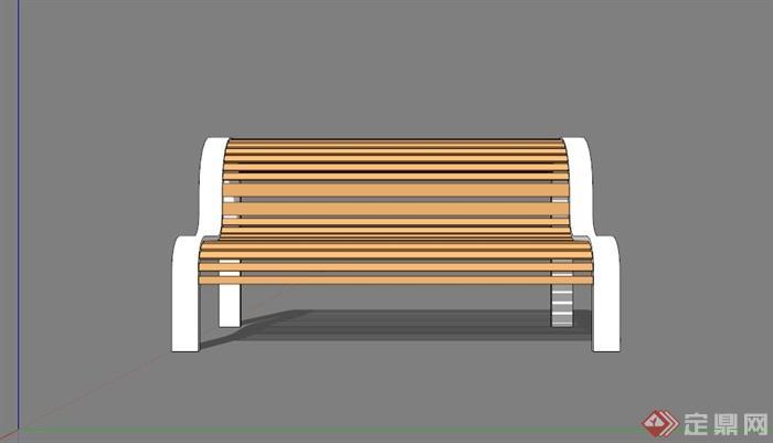 现代木条拼接户外椅子su模型[原创]