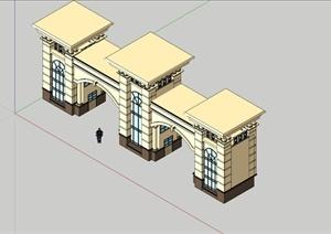 欧式小区入口对称大门设计模型