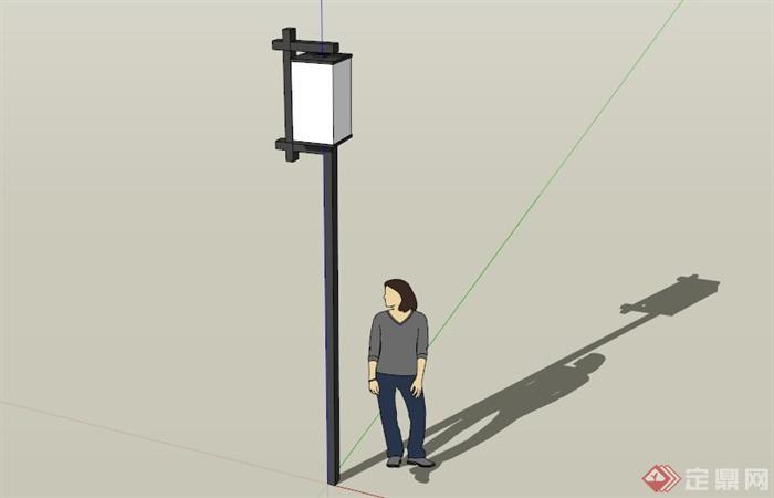 现代中式简约路灯设计su模型(1)