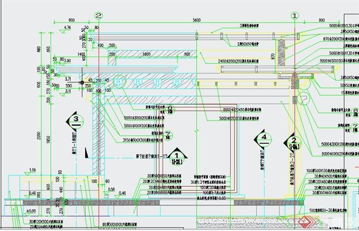 园林景观节点方形亭子设计cad施工图