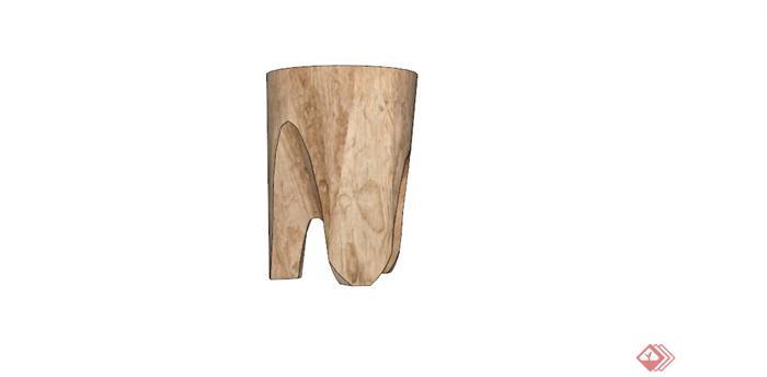 原生态木桩凳子设计su模型