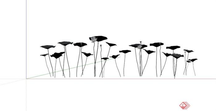 现代铁质莲花荷叶造型雕塑小品su模型