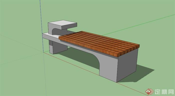 户外木条椅子坐凳su模型[原创]