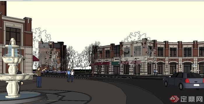 欧式沿街商业建筑,商业街,住宅楼设计su模型[原创]