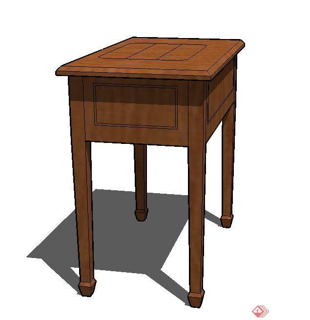 室内木质精致长方形桌子设计su模型[原创]