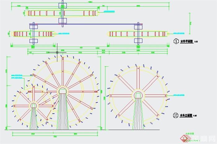 园林景观节点小品水车设计cad详图