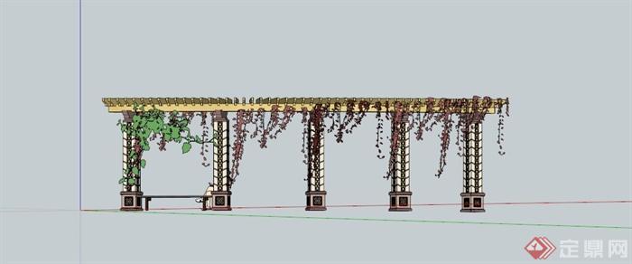 欧式藤蔓廊架坐凳设计su模型(3)